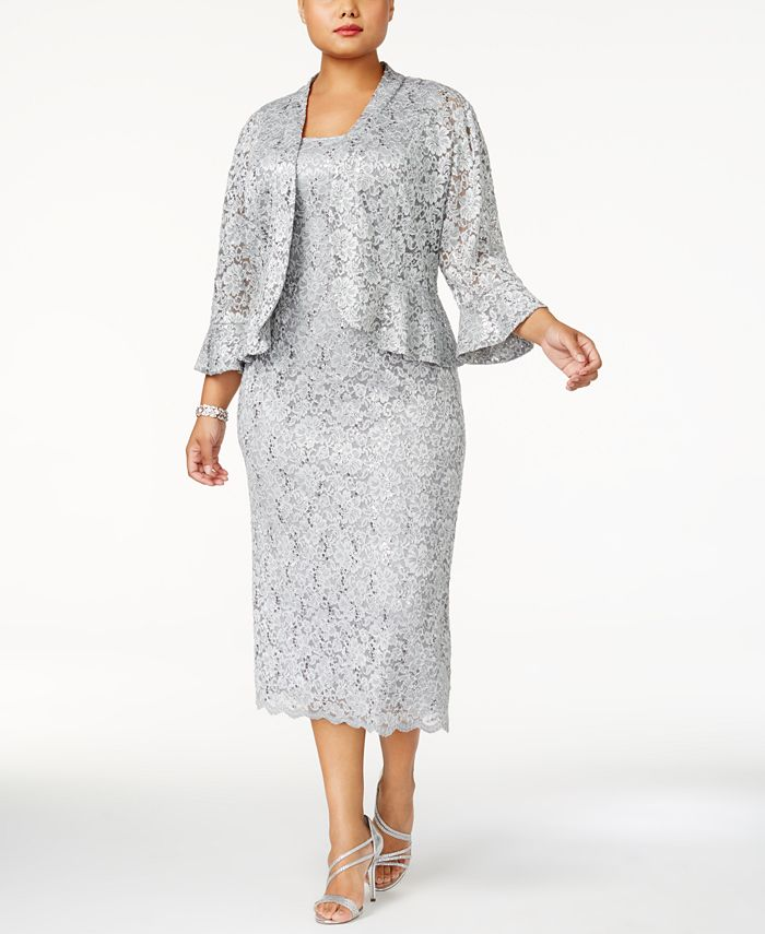 R & M Richards - Plus Size Lace Dress & Ruffled Jacket