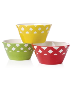 Clay Art Dinnerware, Set of 4 Gingham Barbecue Condiment Bowls