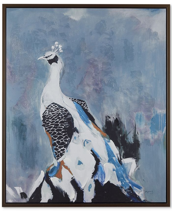 JLA Home - Peacock Prance Gel Coat Canvas With Bronze Frame, Quick Ship