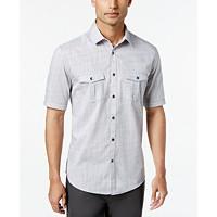 Alfani Mens Warren Textured Short Sleeve Shirt,