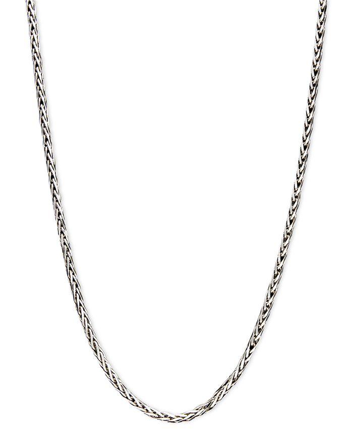 "Macy's - 14k White Gold Necklace, 20"" Diamond Cut Wheat Chain"