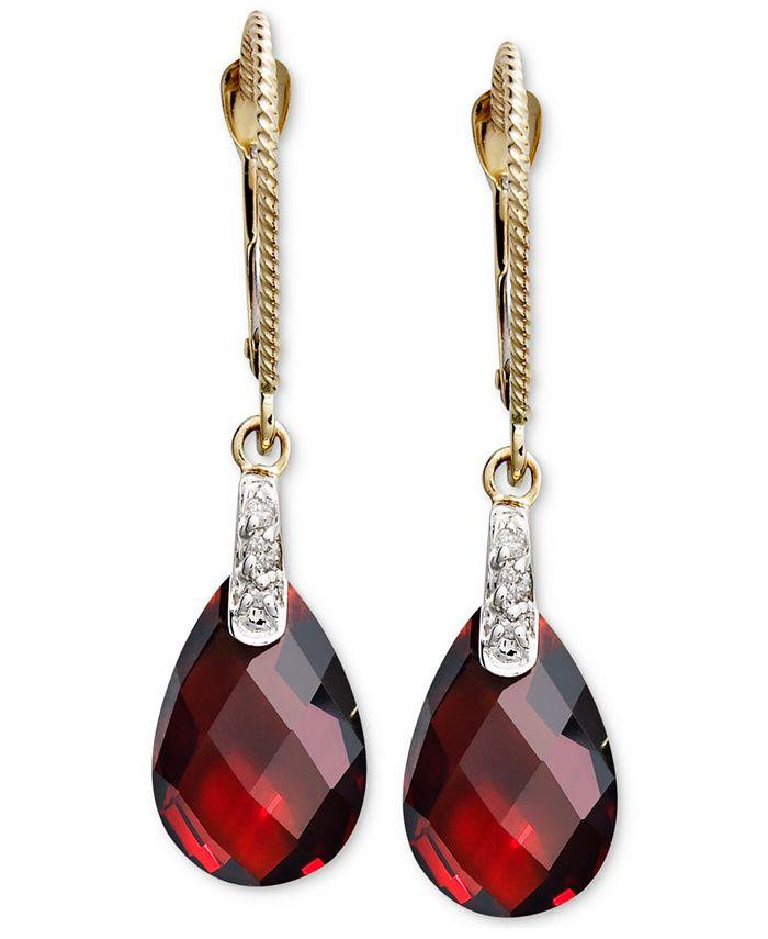Macy's - 14k Gold Earrings, Garnet (7-1/5 ct. t.w.) and Diamond Accent Brio Drop