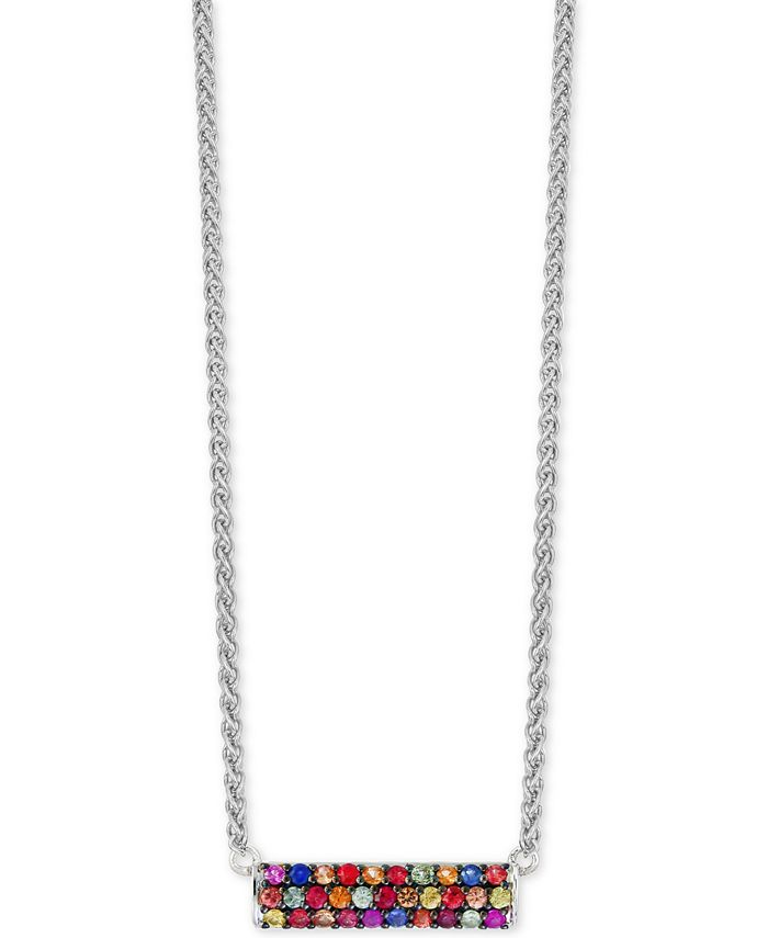 EFFY Collection - Multi-Sapphire Horizontal Bar Pendant Necklace (9/10 ct. t.w.) in Sterling Silver