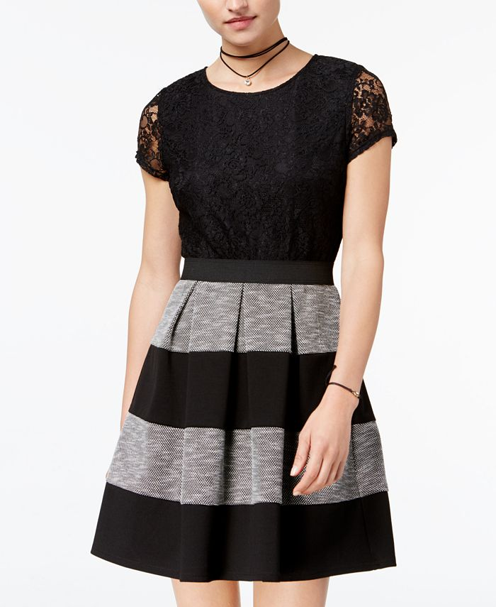 Speechless - Juniors' Lace Striped Pleated Dress
