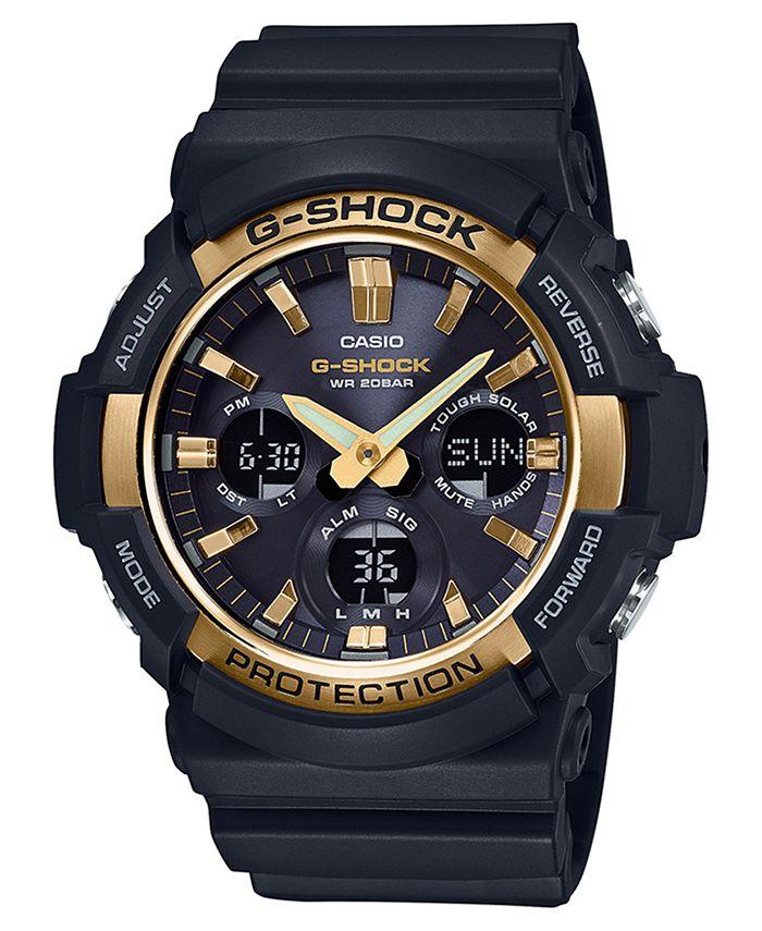 G-Shock - Men's Solar Analog-Digital Black Resin Strap Watch 53mm