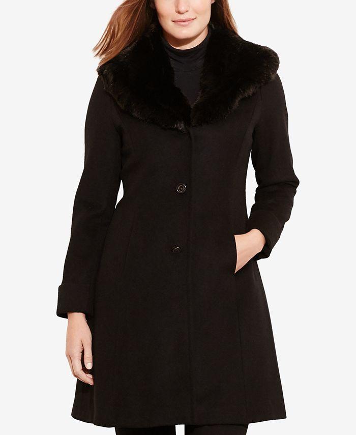 Lauren Ralph Lauren - Faux-Fur-Collar Walker Coat