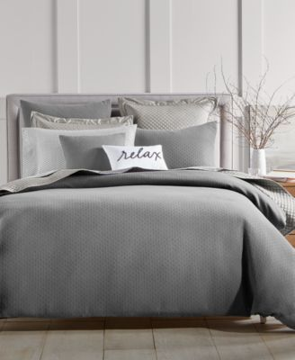 Diamond Dot Cotton 300-Thread Count 2-Pc. Twin Duvet Cover Set, Created for Macy's