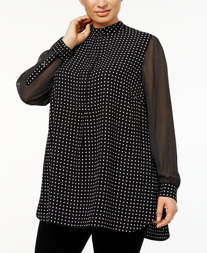 Anne Klein - Plus Size Mixed-Dot Tunic