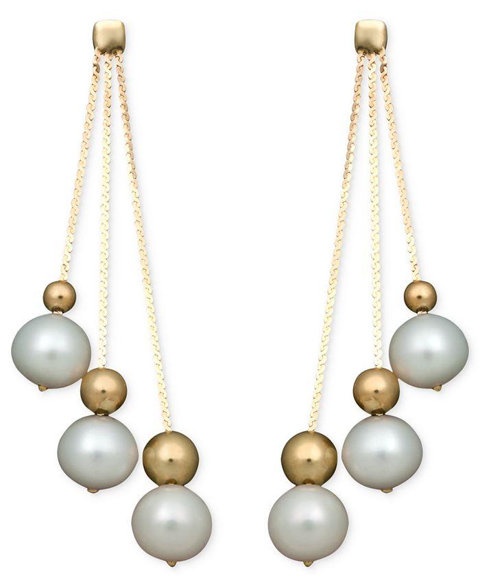 Belle de Mer - Pearl Earrings, 14k Cultured Freshwater Pearl Triple Bead Drop (6-7mm)