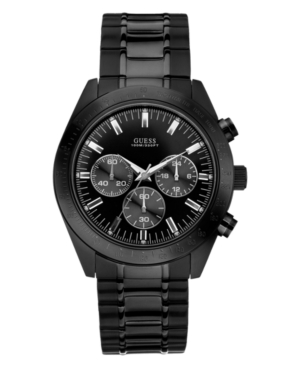 GUESS Watch, Men's Chronograph Black Ion Plated Stainless Steel Bracelet 43mm U15055G1