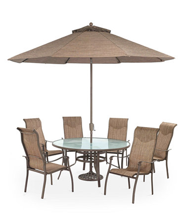 Oasis Outdoor 7 Piece Set 60 Round Dining Table And 6 Dining Chairs