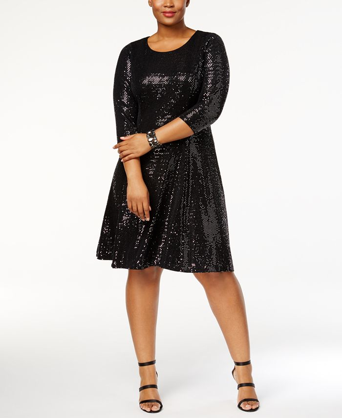 Calvin Klein - Plus Size Sequined Fit & Flare Dress