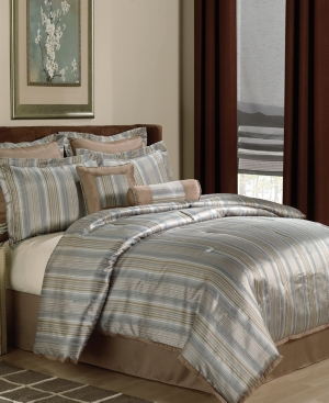 Silverado Stripe 8 Piece California King Jacquard Comforter Set Bedding