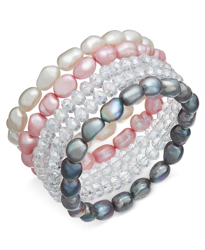 Macy's - 5-Pc. Set White, Pink & Gray Cultured Freshwater Baroque Pearl (7mm) and Rondel Crystal Stretch Bracelets