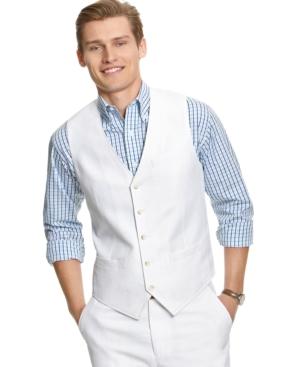 Perry Ellis Vest, Linen Herringbone