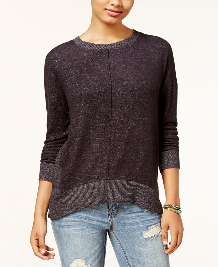 Hippie Rose - Juniors' Marled Side-Zip Sweatshirt