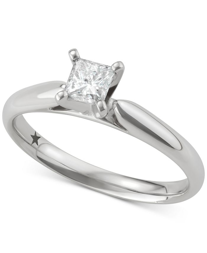 Macy's Star Signature Diamond - Certified ™ Solitaire Engagement Ring (1/2 ct. t.w.) in 14k White Gold