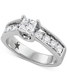 Macy's Star Signature Diamond™ Princess Cut Engagement Ring (1-1/2 ct. t.w.) in 14k White Gold