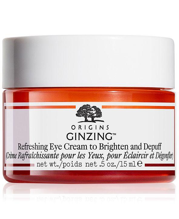 Origins Ginzing Refreshing Eye Cream to Brighten and Depuff, 0.5-oz.