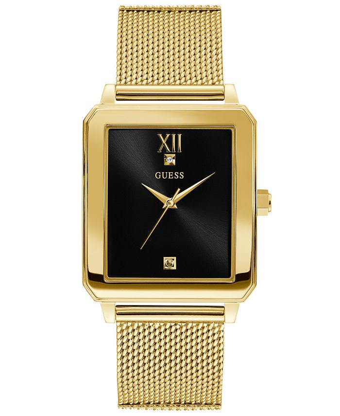 GUESS - Men's Diamond-Accent Gold-Tone Stainless Steel Mesh Bracelet Watch 40x35.5mm