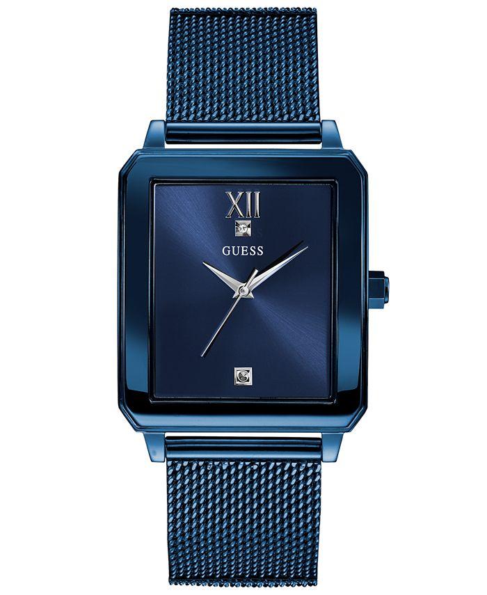 GUESS - Men's Diamond-Accent Blue Stainless Steel Mesh Bracelet Watch 40x35mm