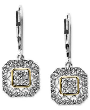 14k Gold and Sterling Silver Earrings, Diamond Leverback Earrings (1/10 ct. t.w.)