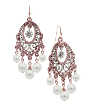 2028 Earrings, Rose Gold Tone and Glass Pearl Chandelier