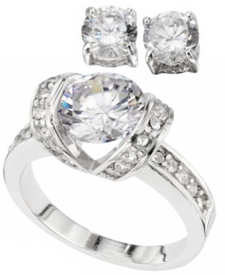 City by City Earring and Ring Set Silver-Tone Cubic Zirconia 6-1/4 ct. t.w.
