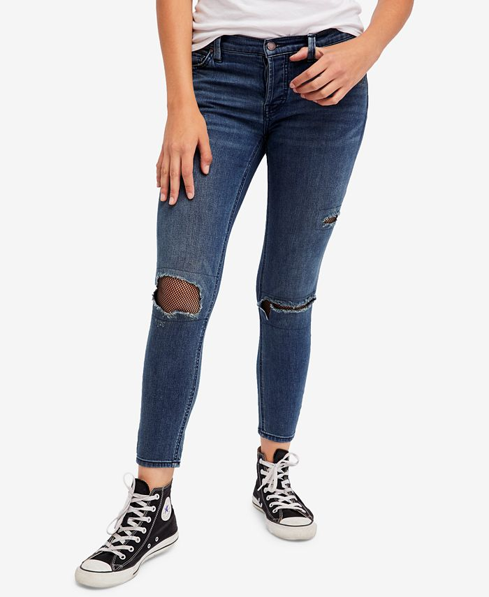 Free People - Fishnet-Inset Skinny Jeans