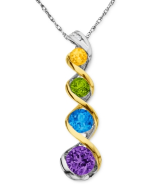 14k Gold and Sterling Silver Necklace, Multistone Swirl Pendant