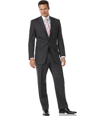 ralph total comfort charcoal wool suit