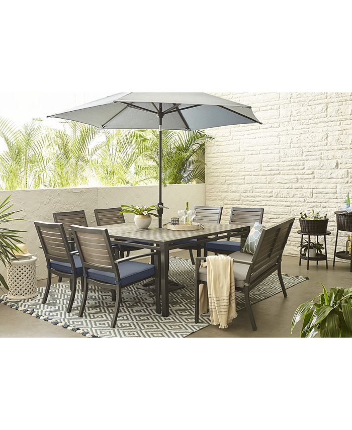 "Furniture - Harlough II Outdoor 8-Pc. Dining Set (62"" Square Dining Table, 6 Dining Chairs and 1 Dining Bench) with Sunbrella® Cushions"
