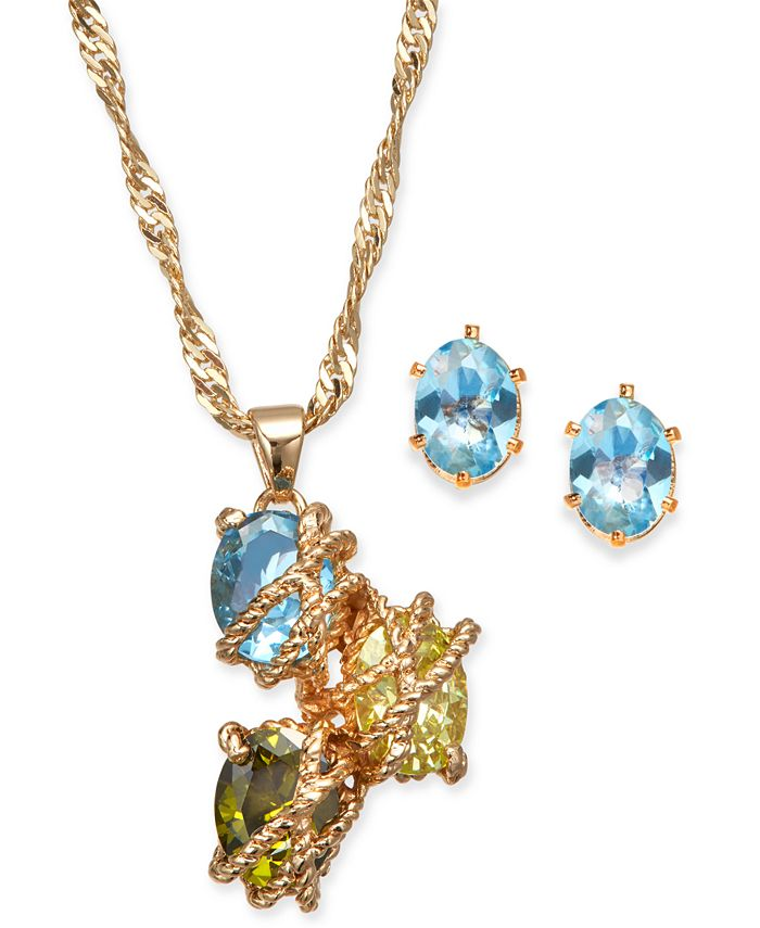 Charter Club - Gold-Tone Multi-Stone Wrapped Pendant Necklace & Stud Earrings Set