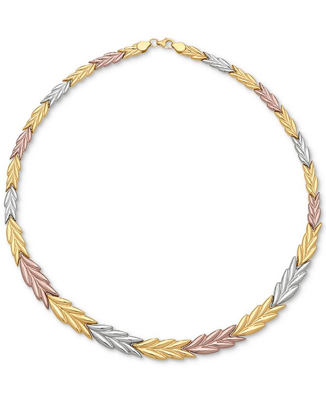 Macy's Tri-Color Chevron Stampato Collar Necklace in 14k Gold, White Gold & Rose Gold