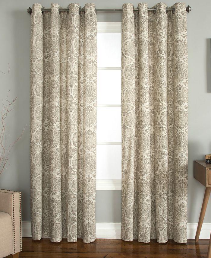 "Miller Curtains - Savara Cotton 50"" x 84"" Watercolor Medallion-Print Window Panel"