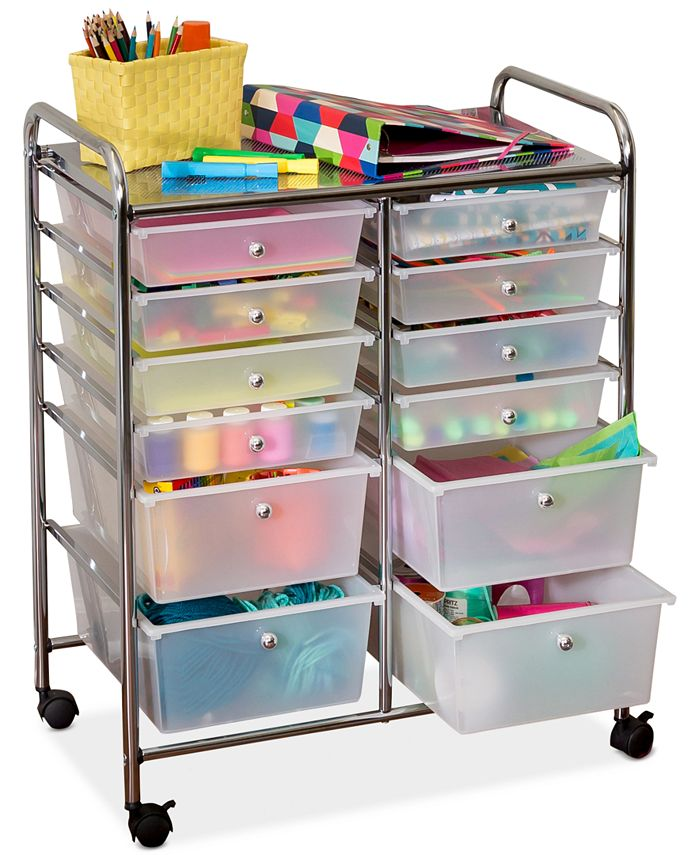 Honey Can Do - Rolling Storage Cart and Organizer, 12 Plastic Drawers