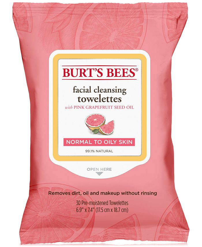Burt's Bees - Facial Cleansing Towelettes - Pink Grapefruit, 30 count