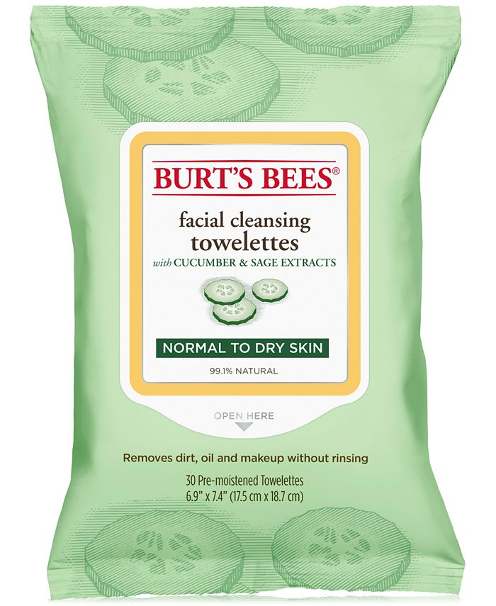 Burt's Bees - ® Facial Cleansing Towelettes, Cucumber and Sage, 30 Count