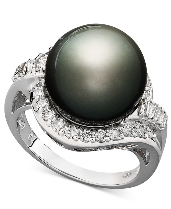 Macy's - 14k White Gold Ring, Cultured Tahitian Pearl (12mm) and Diamond (5/8 ct. t.w.) Ring