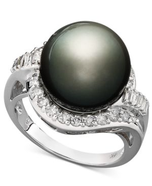 14k White Gold Ring, Cultured Tahitian Pearl (12mm) and Diamond (5/8 ct. t.w.) Ring thumbnail