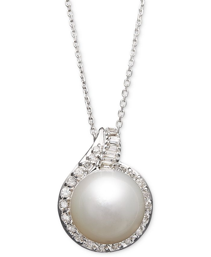 Macy's - 14k White Gold Necklace, Cultured South Sea Pearl (12mm) and Diamond (1/2 ct. t.w.) Pendant