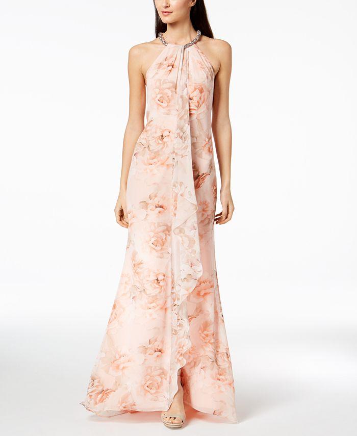 Calvin Klein - Floral Draped Chiffon Halter Gown