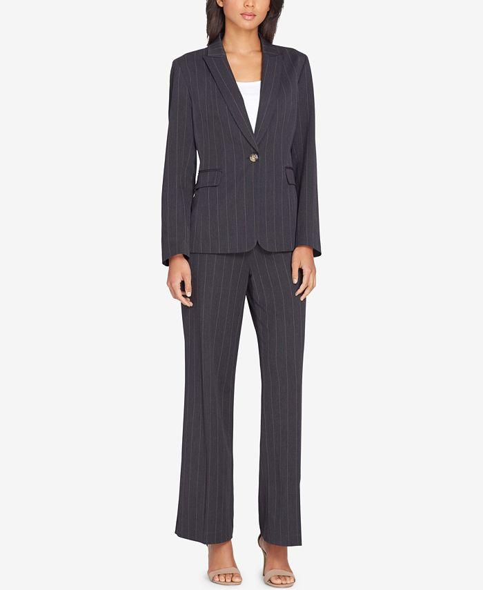 Tahari ASL - One-Button Pinstriped Pantsuit