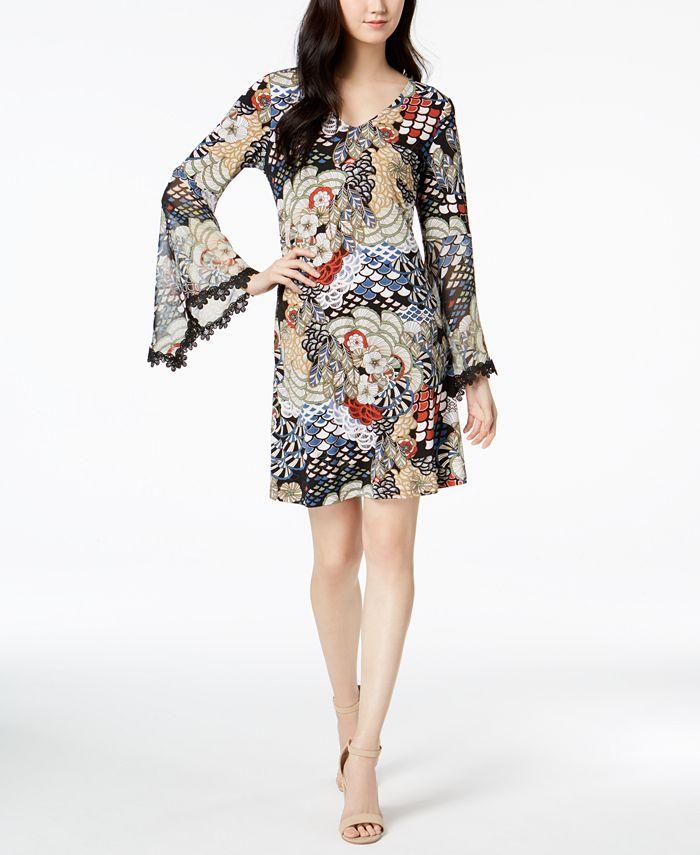 MSK - Peacock-Print Bell-Sleeve Dress