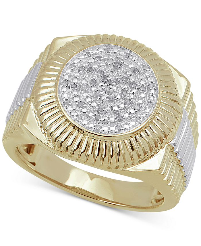 Macy's - Men's Diamond Two-Tone Circle Cluster Style Ring (1/10 ct. t.w.) in Sterling Silver & 18k Gold-Plate