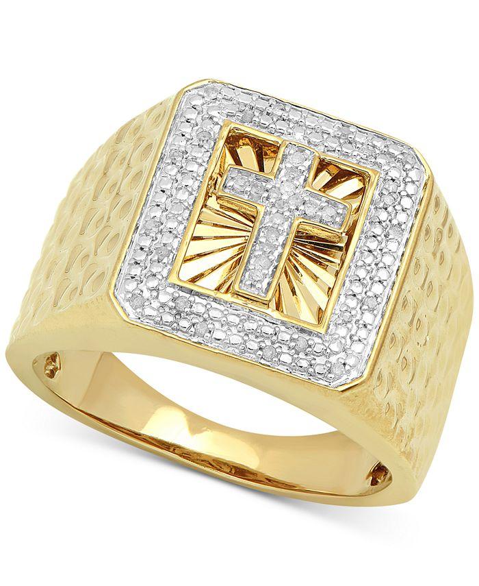 Macy's - Men's Diamond Cross Ring (1/10 ct. t.w.) in 18k Gold-Plated Sterling Silver