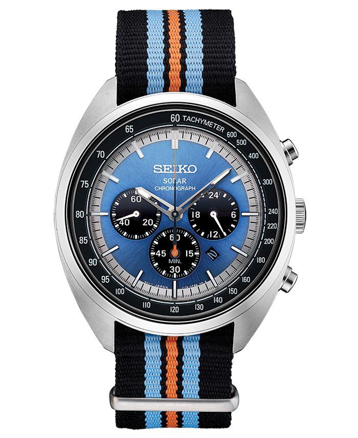 Seiko - Men's Solar Chronograph Recraft Series Black, Orange & Blue Nylon Strap Watch 43.5mm