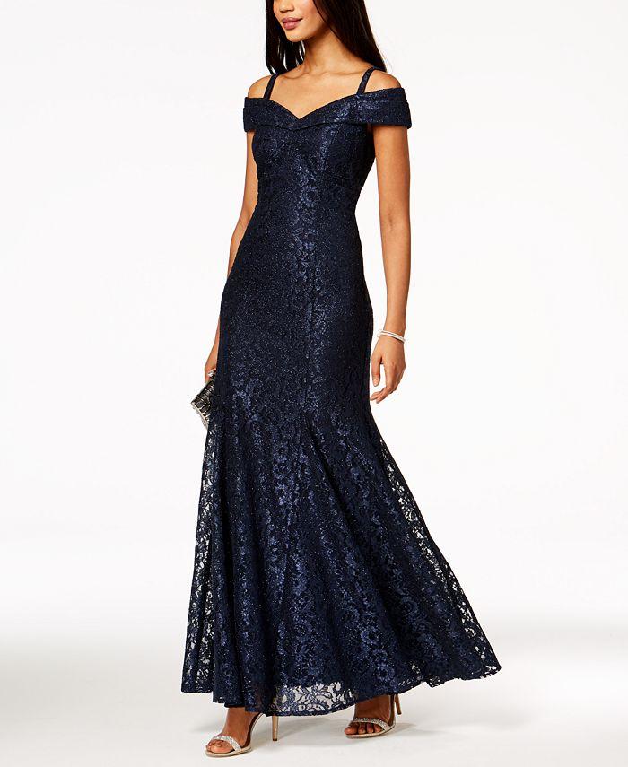 R & M Richards - Off-The-Shoulder Lace Gown