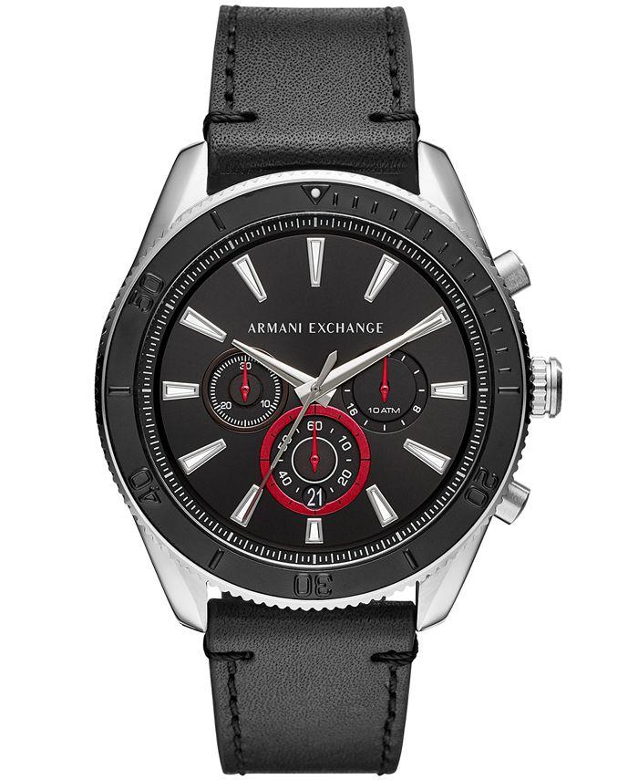 A X Armani Exchange - Men's Chronograph Black Leather Strap Watch 46mm