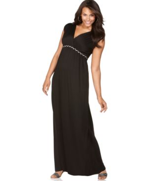 Soprano Plus Size Dress, Cap Sleeve Braided Trim Empire Maxi